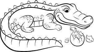 Cute Mother And Baby Crocodile Coloring Pages