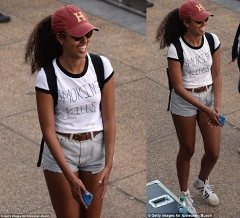 Obama's Daughter Looking Hot...Wears 'Smoking Kills' Tee-Shirt (Photos)