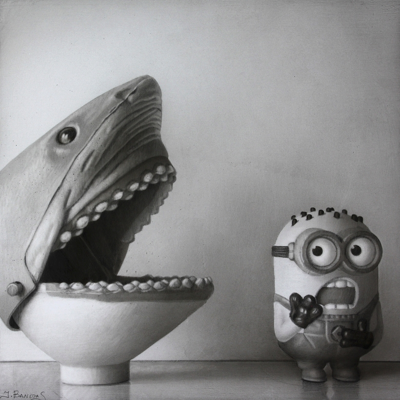 08-Minion-Small-Reflection-Javier-Banegas-Black-and-White-Realistic-Mixed-Media-Drawings-www-designstack-co
