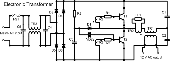 Self-starting half bridge oscillator schematic