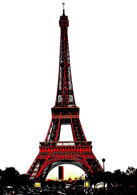 Eiffel Tower red silhouette