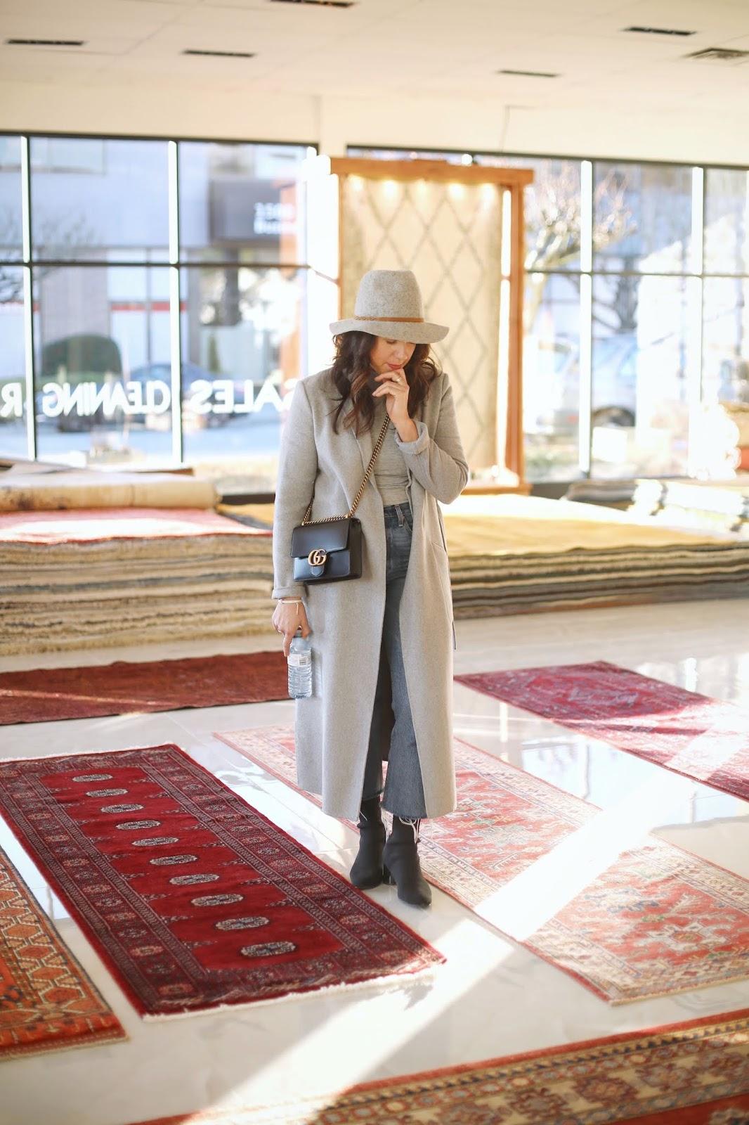 Aleesha Harris grey wool coat outfit pacific rug gallery