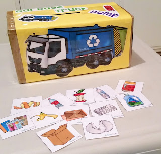 "Using ""Garbage Truck Dump"" by Hookster's Ideas to help my toddler combine words (build expressive language) by doing something he loves, putting trash in the garbage truck!"