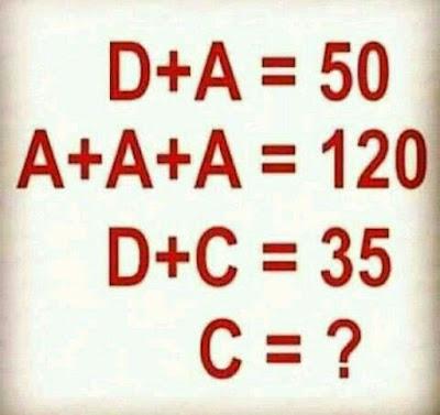 D + A = 50 Math Puzzle