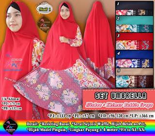 Gamis umbrella motif bahan misbee set hijab syar'i bubble crepe