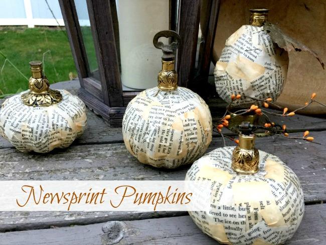 Newsprint fall decor pumpkins and gourds with overlay