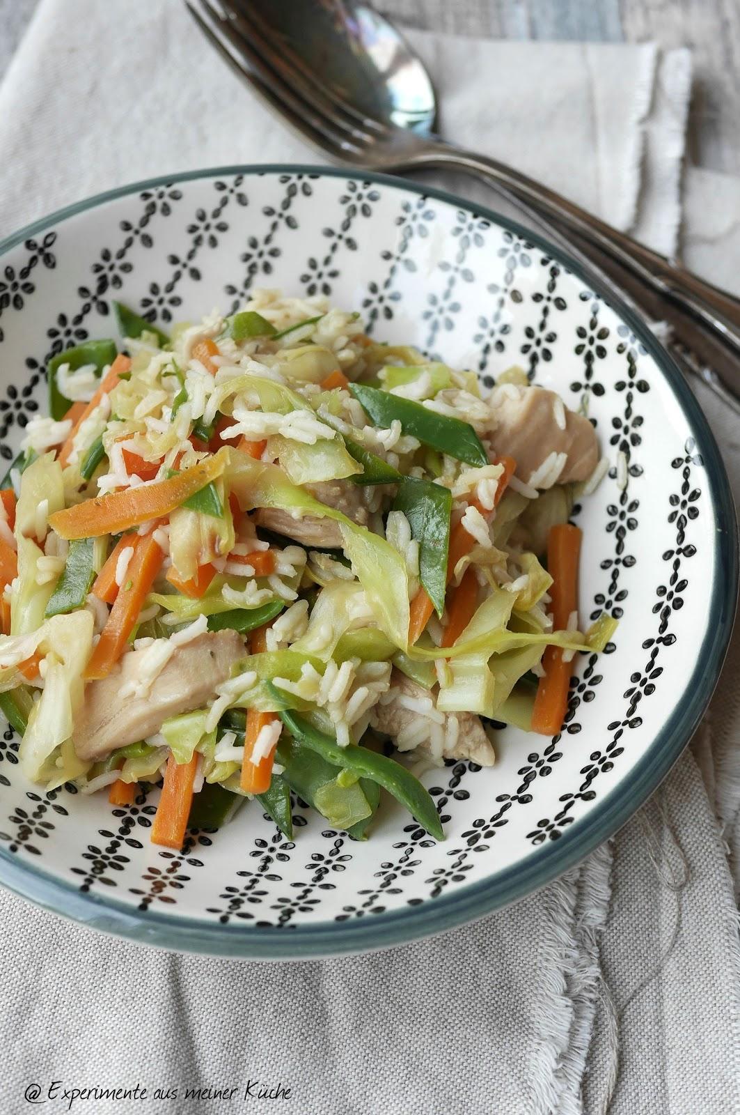 Experimente aus meiner Küche: Asiatische Reispfanne mit Erdnuss-Sauce