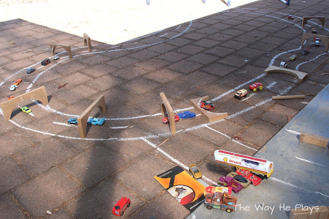 Chalk car track with arches