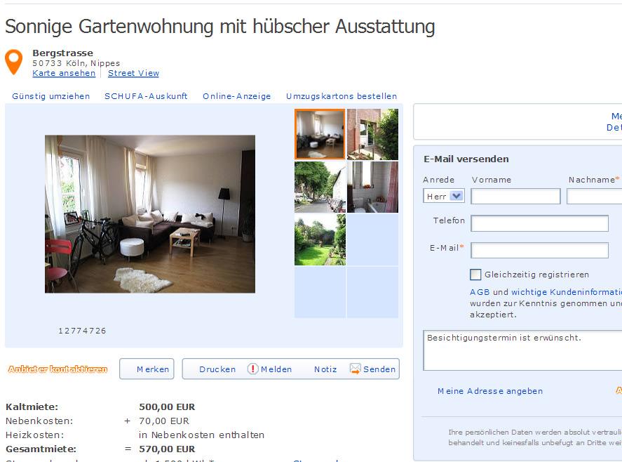 Günter Hackländer wohnungsbetrug com sonnige gartenwohnung mit hübscher