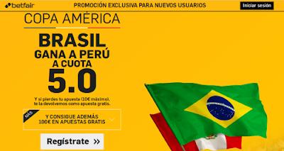 betfair Brasil gana Peru supercuota 5 Copa America 13 junio