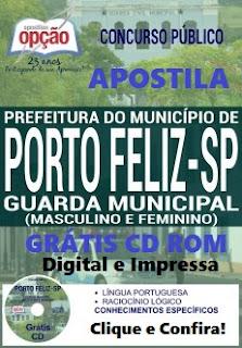 Apostila concurso Guarda Municipal de Porto Feliz SP - GCM 2016.