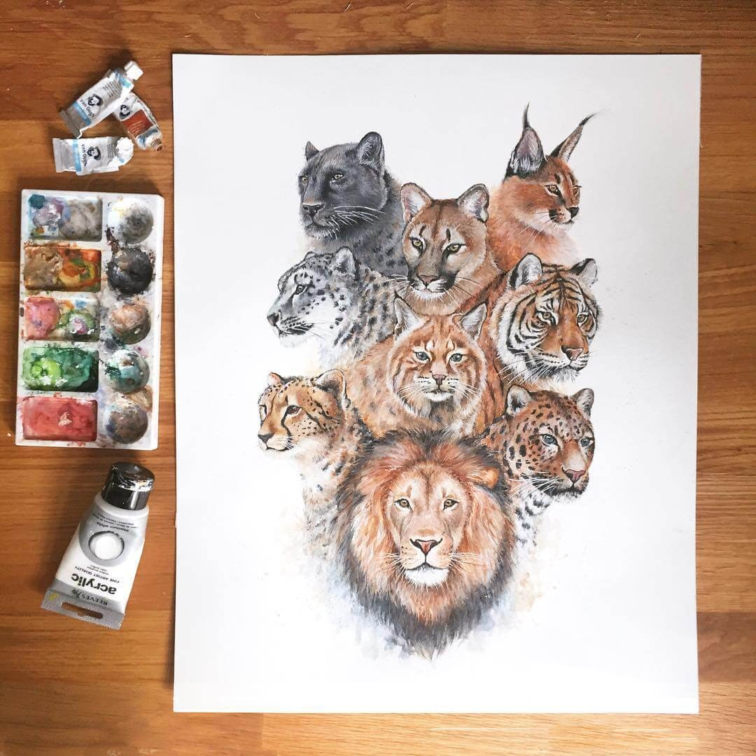 01-Cat-Family-K-Schwarzoviously-Wildlife-Animal-Paintings-www-designstack-co