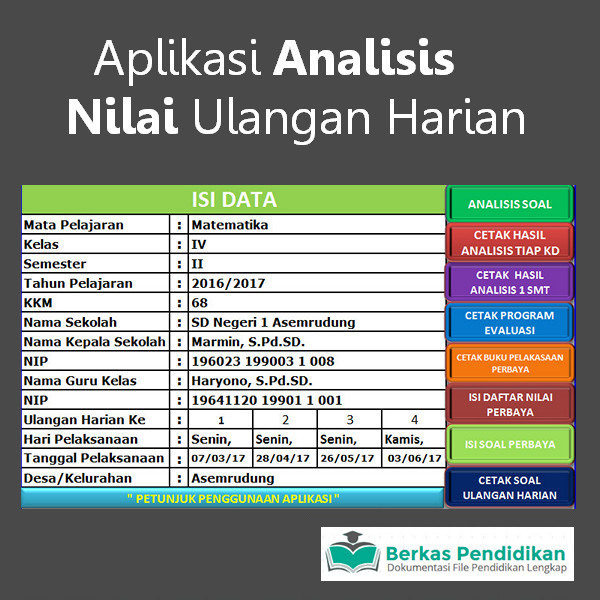 Aplikasi Analisis Nilai Ulangan Harian Kurikulum 2013
