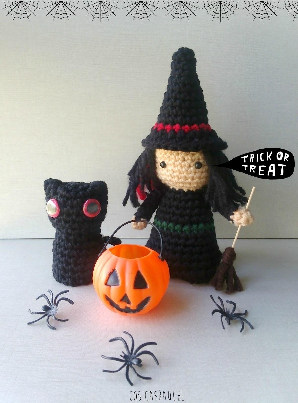 cosicasraquel: Bruja y Gato amigurumi Halloween