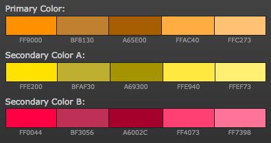 opciones paleta de colores para blog colores calidos análogos naranja