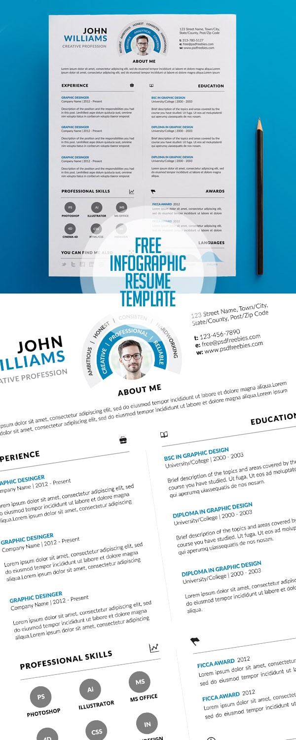 Template Resume / CV Terbaru 2017 - Free Clean and Infographic Resume PSD Template