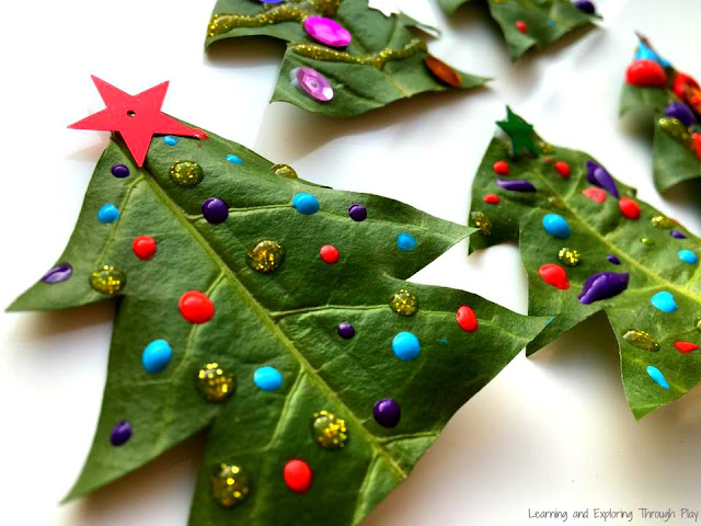 Christmas Crafts using Nature. Leaf Christmas Trees. Christmas Activities for Preschool.