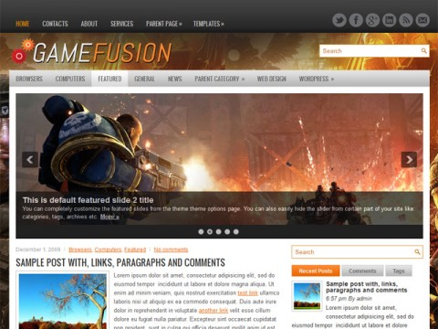 Free GameFusion - Friendly Gaming WordPress Themes