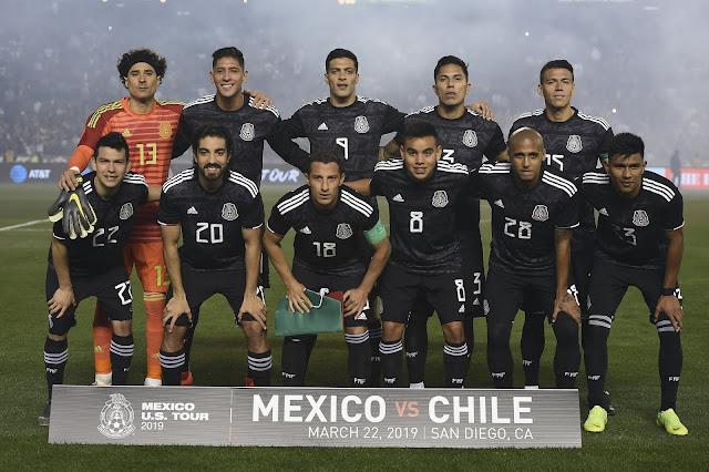 Formación de México ante Chile, amistoso disputado el 22 de marzo de 2019