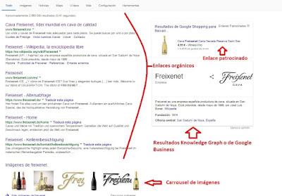 SERP en Google de Freixenet