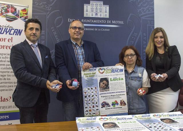 El Ayuntamiento de Motril y la Fundación Ecoruycan inician una campaña solidaria de recogida de tapones para la niña motrileña Lucía Díaz Folgoso