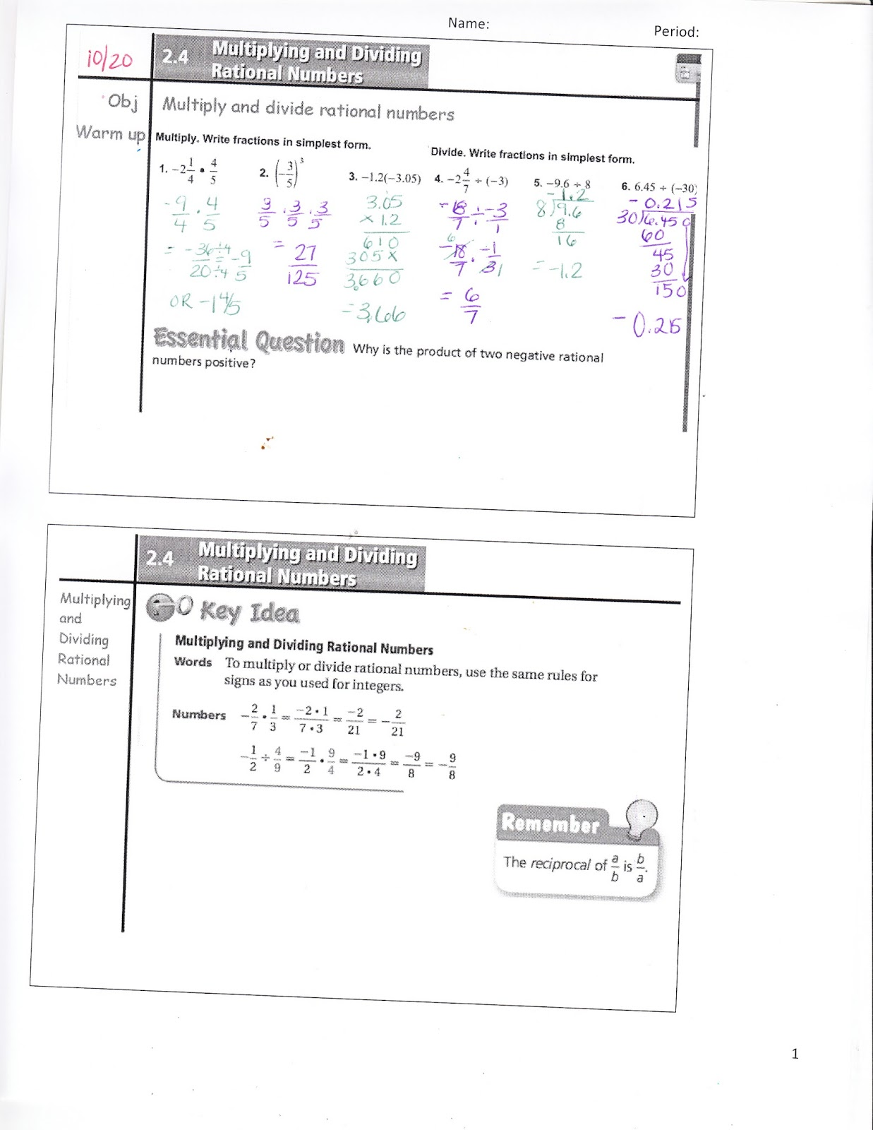 Ms. Jean's Classroom Blog: Math 7 2.4 Multiplying and