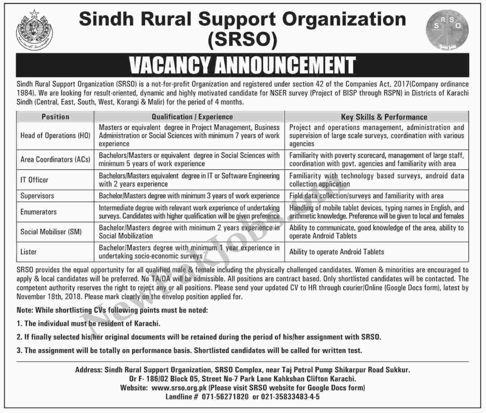 Jobs In Sindh Rural Support Organization Today 08 Nov 2018