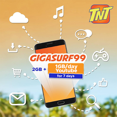 TNT GIGASURF 99 : 2GB Data + 1GB Free YouTube Everyday for 7