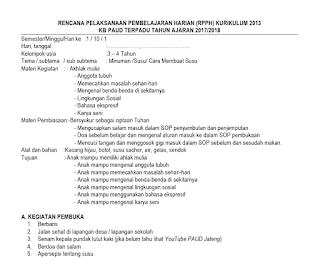 Download PROTA PROMES RPPM RPPH Kurikulum 2013 KB Usia 3-4 Tahun