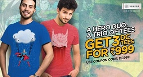 Voxpop Promotional Offer: Buy 3 DC T-Shirts just for Rs.999 Only