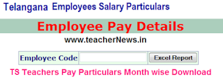TS Employee Pay Details Teachers Salary Particulars Download