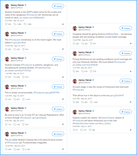 screenshots of a series of tweets on the healthcare bill posted by Pelosi this week
