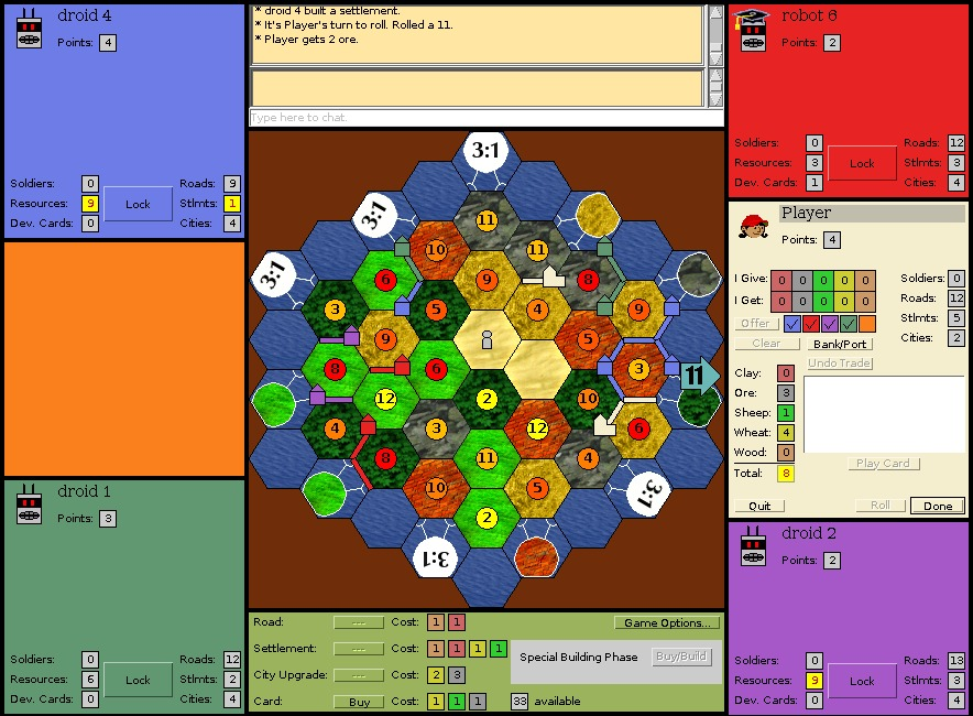 Settlers of Catan Rules in Open Source Games (aka Clones