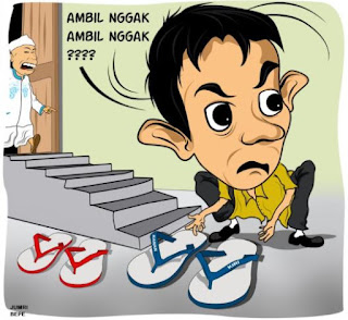 Gambar Karikatur Ramadhan Lucu Maling Sandal di Masjid Takut Dosa