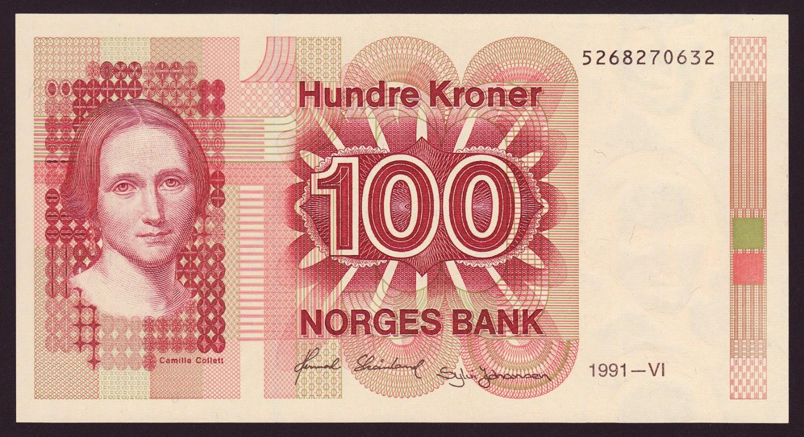 Norway Banknotes 100 Kroner Banknote 1991 Camilla Collett
