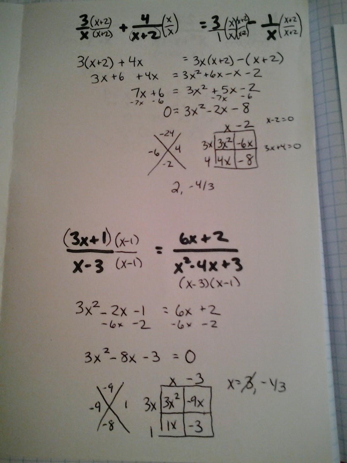 Type A Mathland Unit 4 Radical Rationals