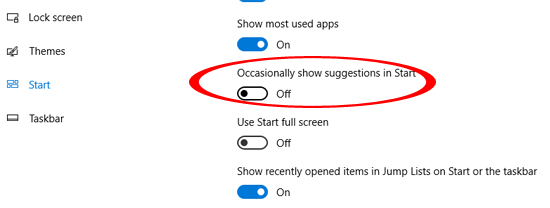Turn off Occasionally show suggestions in Start