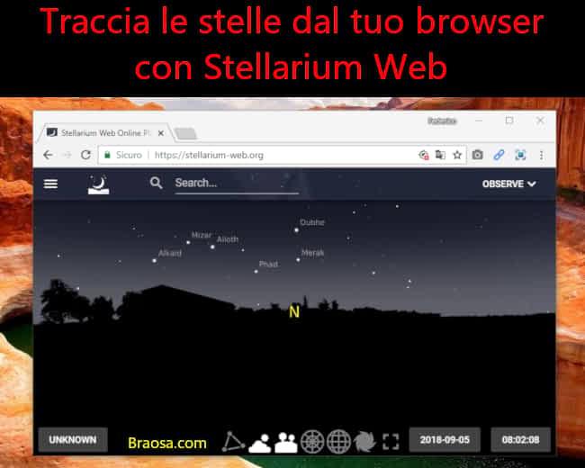 Vedere tutte le costellazioni sul proprio browser con Stellarium Web