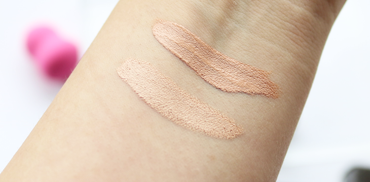 Nars Radiant Creamy Concealer Honey and Becca Ultimate Coverage Concealing Creme butterscotch review and swatches