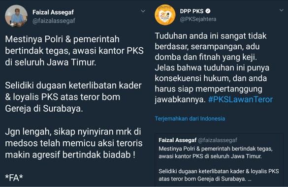 Tanggapan Tegas PKS atas Fitnah Keji Faizal Assegaf Soal Bom Surabaya