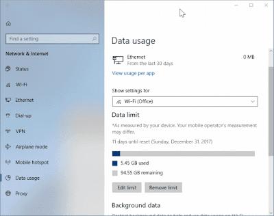 Mengatur limit penggunaan data wifi di windows 10-c