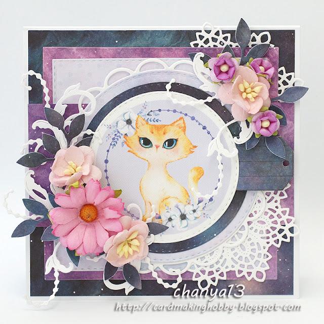 361. Kartka urodzinowa z kotkiem