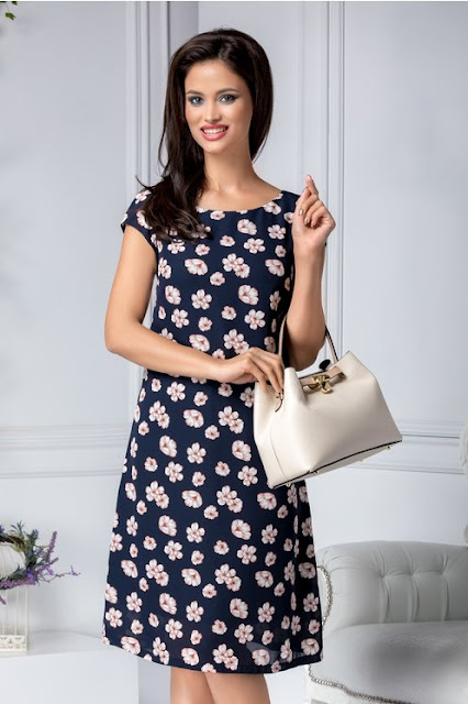 Rochie bleumarin eleganta de zide vara cu imprimeu cu floricele si croi drept
