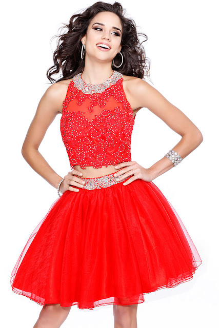two piece halter neck homcoming dress - red