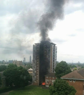 Firefighters struggle as inferno engulfs 15-storey building in London