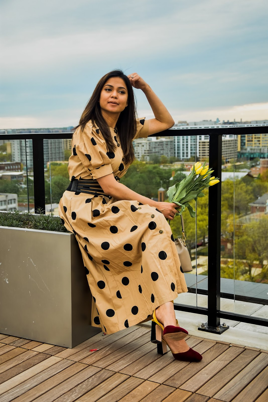 target style polka dot skit, who what wear polka dot skirt, corset belt, fashion, style, dc blogger, myriad musings, polka dot outfit, spring style, velvet heels, indian fashion blogger, saumya shiohare.