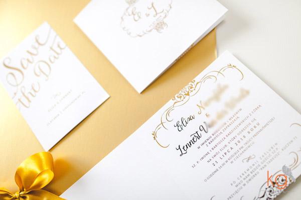 złocone, biało-złote, eleganckie, glamour, kaligraficzne, błyszczące zaproszenia, zaproszenia ślubne, pozłacane, złote zaproszenia,