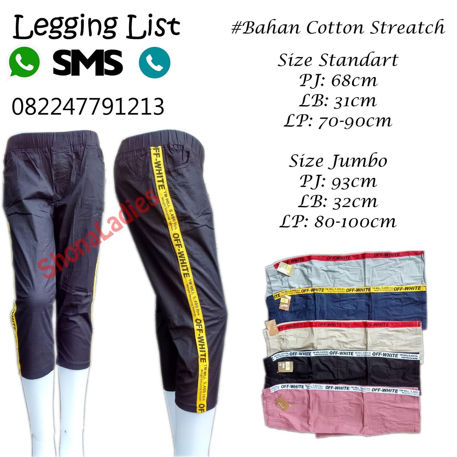 Pusat Grosir Celana Wanita Celana Wanita Legging List Off White 7 8