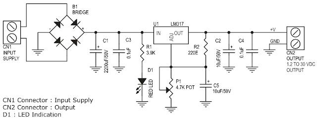 الدائرة الالكترونية  لتنظيم جهد مستمر 1.2 الى 30 فولت