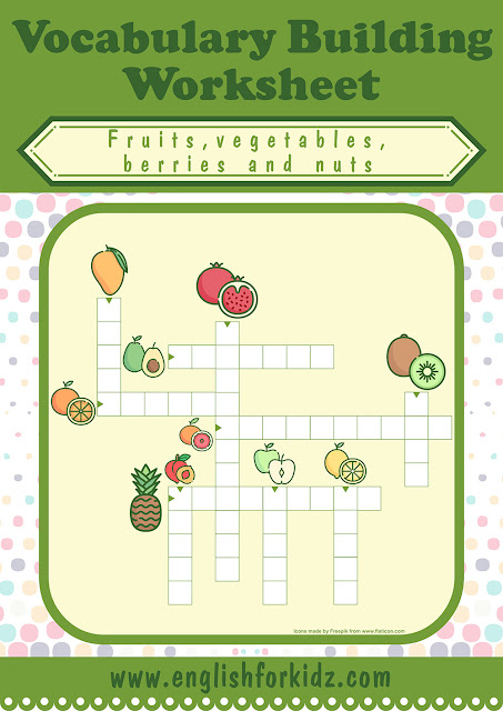 Fruits crossword puzzle for English learners